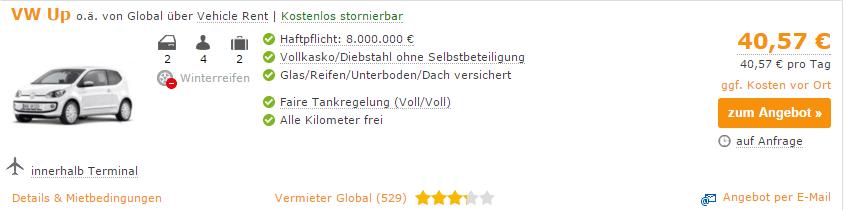 Deutschland-Versicherungsangebot für Mietwagen