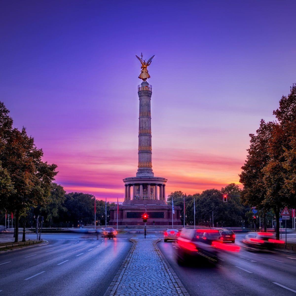 Die Straßen rund um die Siegessäule in Berlin