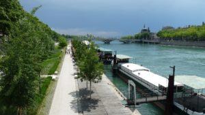 Die Stadt Lyon in Frankreich mit ihrem Fluss die Rhone.