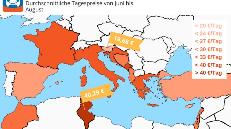 HAPPYCAR Mittelmeer Preis Heat Map