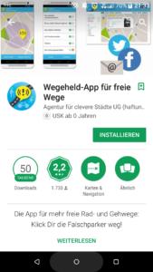 Wegeheld-App am Handy installieren